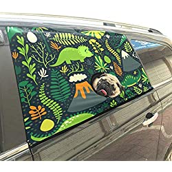 InterestPrint Custom Pet Car Window Curtain Sun Protection Curtains Dinosaurs