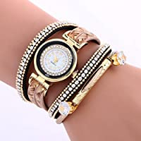 Womens Watch,Howstar Vogue Womens Chimes Leather Bracelet Analog Quartz Watches