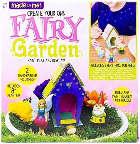 Made By Me Create Your Own Fairy Garden by Horizon Group USA, Build, Paint Display Your Personalized Wooden Fairy House. 8 Planter, Figurines, Glitter, Glue, Paint, Wooden Fairy House Included