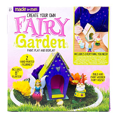 """Made By Me Create Your Own Fairy Garden by Horizon Group USA, Build, Paint & Display Your Personalized Wooden Fairy House. 8"""" Planter, Figurines, Glitter, Glue, Paint, Wooden Fairy House Included"""