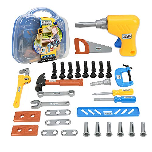Plastic Construction Kit - Elec3 Toy Tools, Kids Tool Set 40 Pieces for Toddlers, Boys Construction Play Tools Kit with a Durable Plastic Case-Children Learning, Educational Gift