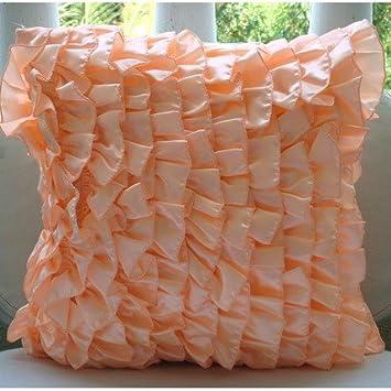 Designer Peach Pillow Covers Contemporary Solid Cushion Covers 12 Quot X12 Quot Pillow Covers