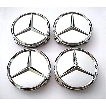 Motorup America Center Caps for Mercedes Benz (Pack of 4) Triple Chrome Plated