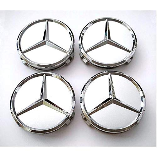 Motorup America Center Caps for Mercedes Benz (Pack of 4) Triple Chrome Plated ()