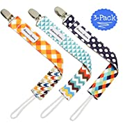 B.B. Pacifier Clip 3-Pack | 2-Sided Binky Clips for Baby Boys | Universal Strap/Holder/Leash for Soothies, Teethers, Pacifiers by Bodacious Bambino