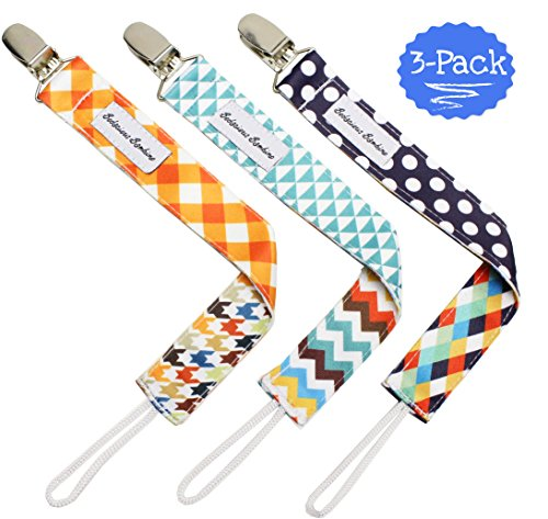 B.B. Pacifier Clip 3-Pack | 2-Sided Binky Clips for Baby Boys | Universal Strap/Holder/Leash for Soothies, Teethers, & Pacifiers by Bodacious Bambino