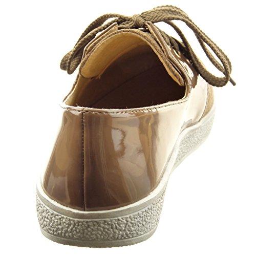 Sopily - Scarpe da Moda scarpa derby alla caviglia donna lucide verniciato Tacco a blocco 2 CM - Khaki