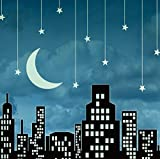 JP London SQM2131PS Peel and Stick Removable Wall Decal Sticker Mural Sinatra Mad Men Twilight Fly Me To The Moon Skyline At 6' High By 6' Wide