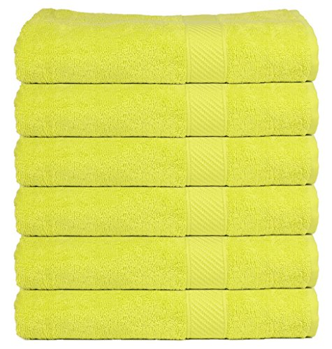 Trident 400 GSM 6 Pcs Hand Towels - Neon Bright Green