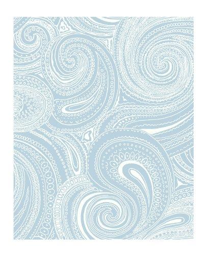 Large Paisley Wallpaper - York Wallcoverings AP7476 Silhouettes Swirling Paisley Wallpaper, Blue/White