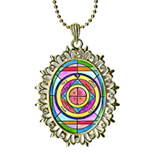 Solomons 5th Seal Saturn for Protection of Home From Theft Huge Light Gold Medallion Rhinestone Pendant