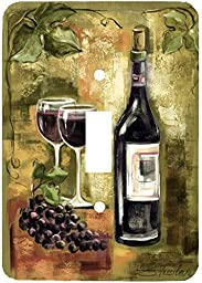 Red Wine and Grapes Painting Wall Plates (Single Toggle)