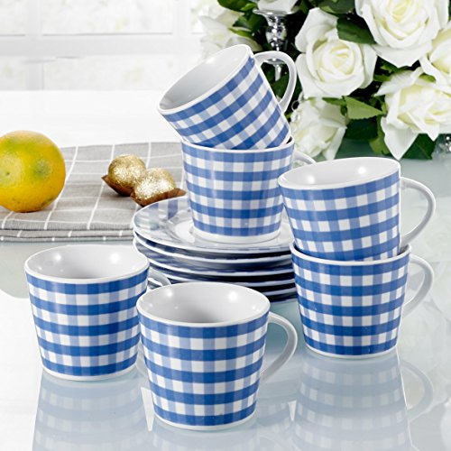 12 Pieces Blue and White Geometric Design Patterned Porcelain Tea & Coffee Service Set with 180ml/6.3oz Cup and Saucer, Service for 6