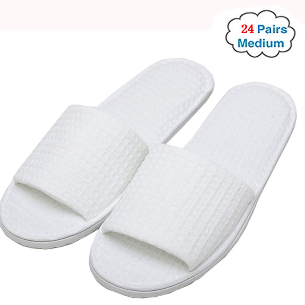 GZZ Disposable Slippers White 24/50/100 Off-The-Shelf Luxury Open Toe White Slippers for spa, Party Guests, Hotels and Travel (Edition : 100 Pairs)