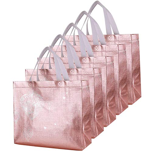 Bridesmaids Gift Bags (Rumcent Bling Bling Glossy Durable Reusable Medium Non-woven Gift Bag Set Of 5,Shopping Bag,Promotional)