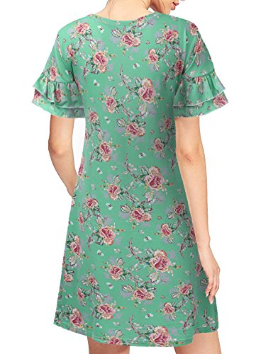 Dress CLOVERY amp; Cwdsd0498 Summer sagepink Print Tunic Women's Dress Floral Solid Loose Fit rYZFqrv