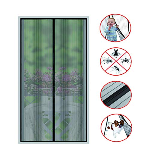 - Magnetic Screen Door(2018 New)-26 Strong Magnets-Full Frame Magic Adhesive-Easy Open and Close Design-Fresh Air in-Keep Mosquitoes Out-Pet Friendly-Hands Free-Fits Door Size up to 34 X 82 Inches