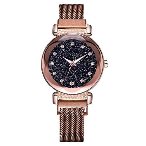 LUXISDE Watch Women Fashion Starry Sky Mosaic Diamond Quartz Mesh Belt Magnetic Buckle Ladies Watch Brown