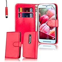 32nd® Book wallet PU leather case cover for Motorola Moto G 3 (3rd Gen / 2015 edition) + screen protector, cleaning cloth and touch stylus - Red