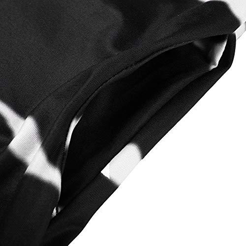 JESPER Women's Casual Chiffon Striped Short Sleeved Pocket Split Irregular Hem Long Beach Dress Black by JESPER (Image #4)
