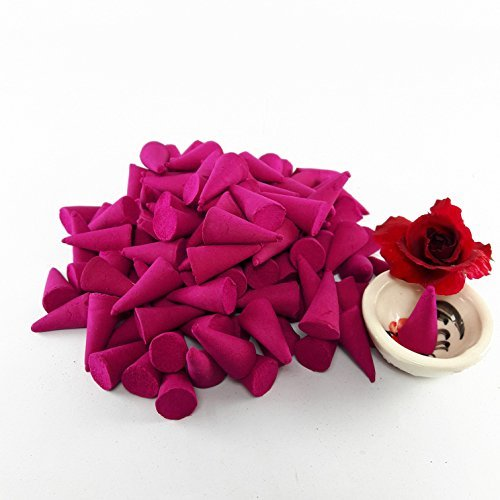 Rose Incense Cone Rose of Fragrance Relax Aromatherapy Spa (Pack of 100 Cones) With Burner Holder Thai Product