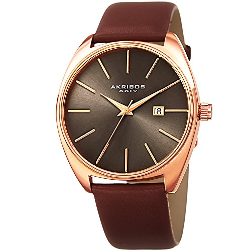 Akribos XXIV Men's Rose-Tone Case with Rose-Tone Accented Gray Dial on Brown Genuine Leather Strap Watch - Dial Gray Tone