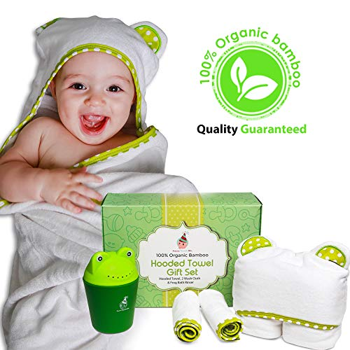 100% Organic Bamboo Hooded Baby Towel Gift Set with 2 wash Cloth and Frog Shampoo Rinser Cup | 0-5 Years Old | Perfect as a Gift | Beach Towel | Baby Shower Gift | A Gift That You Will Love