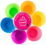 Globally Good Silicone Baking Cups / Cupcake Liners - 12 Premium Reusable Muffin Molds in Storage Container