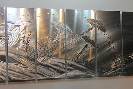 Tentacles XL - Huge Metal Abstract Modern Silver Wall Art Sculpture ...