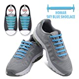 Homar No Tie Elastic Shoelaces for Athletes Adults- Best in Sports Fan Shoelaces - Rubber Flat Shoe Laces Perfect for Sneaker Boots Oxford and Casual Shoes - Sky Blue