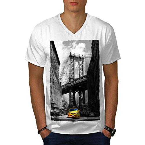 wellcoda Brooklyn Bridge Mens V-Neck T-Shirt, Yellow Graphic Print Tee White ()