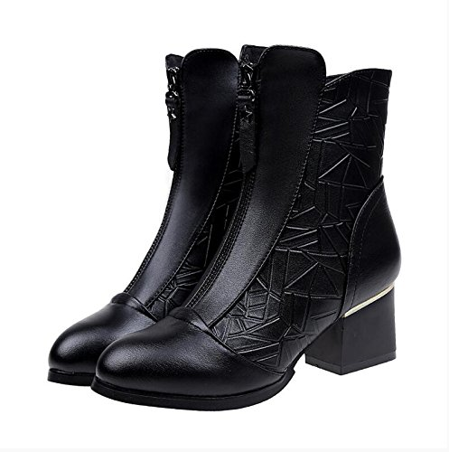 KHSKX-In The High-Heel Shoes With Thick With Female Martin Short Boots And Short Boots The Korean Version Of The Plush Bare Boots Black QAWnXOYvSg