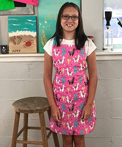 Bright Pink Llama Handmade Kitchen Craft Art Apron Gift for Girl from Sara Sews