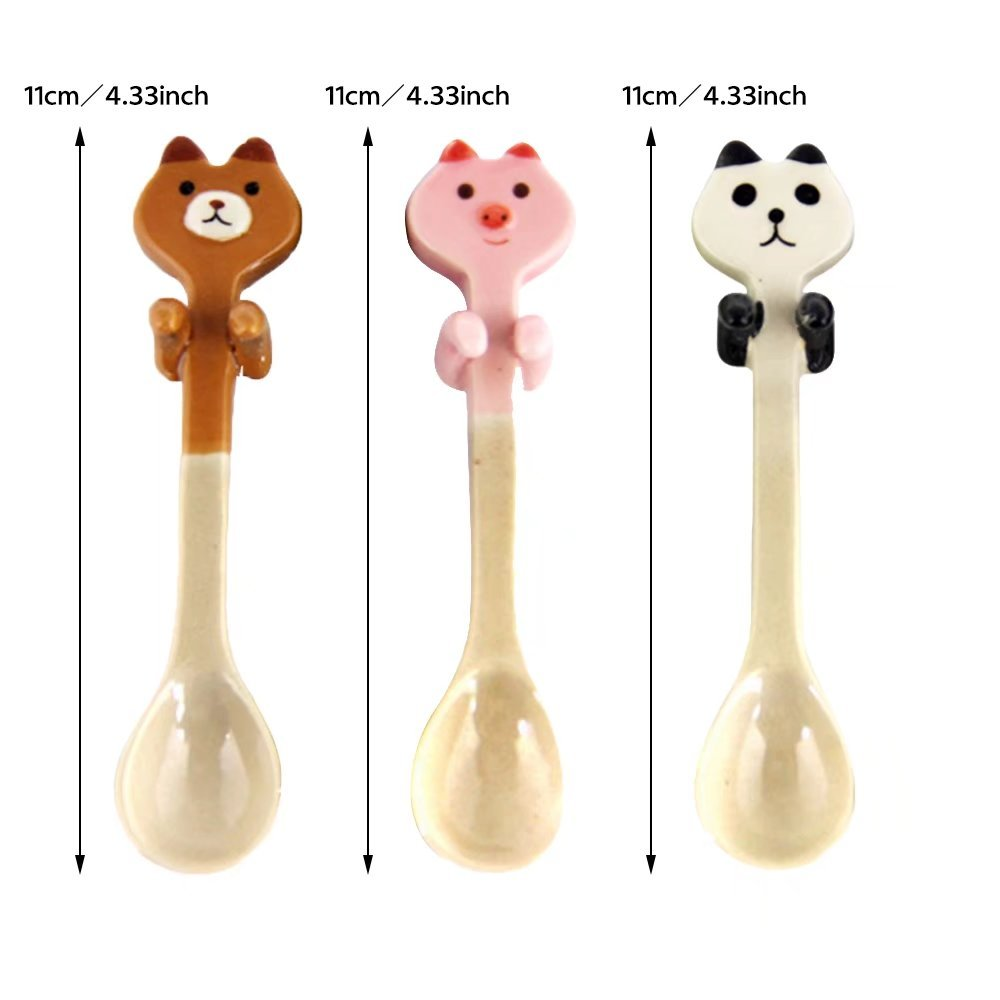 KateDy 3pcs Baby Ceramic Dessert Spoon Cute Animals Handle Tea Coffee Feeding Small Spoon,Can Be Hanging Cup Spoons,Perfect Gift for Boys Girls(Panda+Pink Pig+Bruins) by Katedy (Image #6)