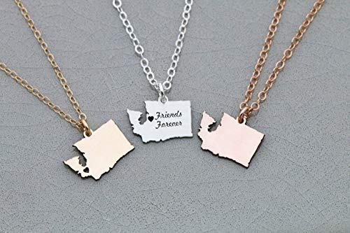 - Washington State Necklace - IBD - Personalize with Name or Coordinates – Choose Chain Length – Pendant Size Options - Ships in 1 Business Day - 935 Sterling Silver 14K Rose Gold Filled Charm