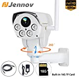 Jennov Full HD 2.0MP 1080P Wifi IP Wireless Security Cameras Outdoor Waterproof Cctv Pan Till Zoom PTZ Camera With Built-in 16G TF Card Day Night Vision Mobilephone Remote View