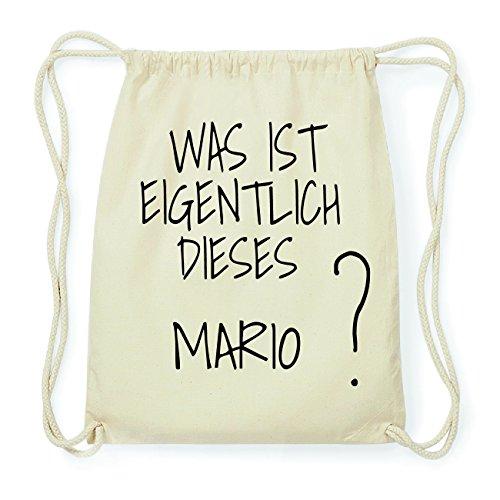 JOllify MARIO Hipster Turnbeutel Tasche Rucksack aus Baumwolle - Farbe: natur Design: Was ist eigentlich