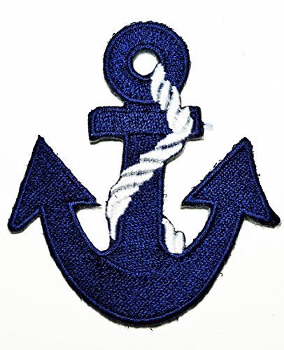 HHO Anchor navy biker tattoo retro ship boat sea sew dark blue embroidered Patch Embroidered DIY Patches Cute Applique Sew Iron on Kids Craft Patch for Bags Jackets Jeans Clothes