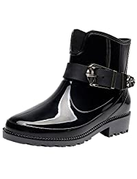 rismart Women's Ankle High Casual Button Snow Waterproof Slip On Rain Boots