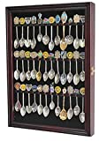 36 Spoon Display Case Cabinet Holder Rack Shadow Box with REAL Glass Door, DARK CHERRY Finish (SP01-DC)