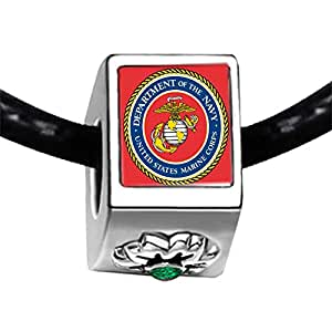 Chicforest Silver Plated Character Marine Corps Photo Emerald Green Crystal May Birthstone Flower Charm Beads Bracelets Fits Pandora Charm
