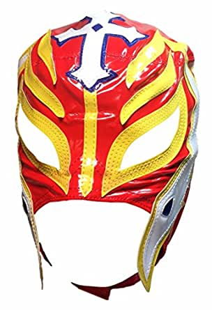 Main Street 24/7 WWE Licensed Rey Mysterio Youths Kid Size Red With Yellow Trim Leather Pro Grade Mask