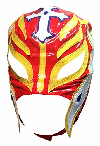 Main Street 24/7 WWE Licensed Rey Mysterio Youths Kid Size Red With Yellow Trim Leather Pro Grade Mask by Main Street 24/7