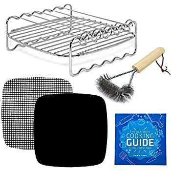 Air Fryer Rack Accessories Compatible With Ninja Foodi, Power Airfryer Oven Vortex, Bagotte, Master Culinary, Paula Deen, Philips, Yedi, Secura, More | Skewer + Kebab Accessory for Cooking + Grilling
