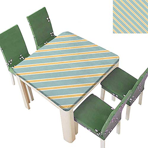 Printsonne Polyester Tablecloth Diag al Bold and Thin Strip Simplistic ALM Green Apricot Cream Spillproof Tablecloth 50 x 50 Inch (Elastic Edge)