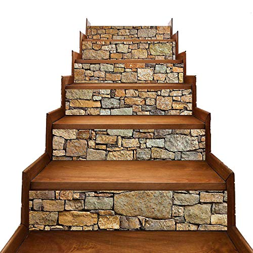 Eyourlife 6 PCS Self-Adhesive Stair Stickers Removable Tile Decals,Stair Riser backsplash for Living Room, Hall, Kids Room Decor (Brick Stone)