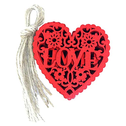 (10Pcs Wedding Decoration Wooden Crafts Hanging Ornaments Red Hearts Wedding)