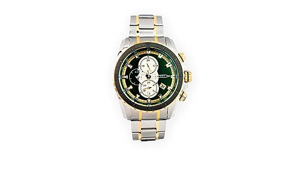 Reloj para caballero Aresso Sport Lujo multifunción con esfera verde en acero y acero dorado. La esfera tiene un diámetro de 51 mm.