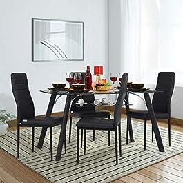 Royaloak Milan Four Seater Dining Table Set (Black)