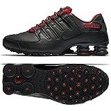 Nike Men's Shox NZ SE Hematite Running Shoes,Black/Red